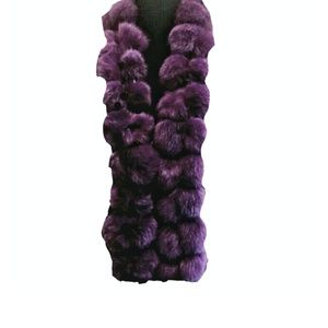 Rabbit Fur Pom Scarf Purple